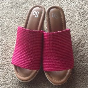 Hot Pink Wedge Sandals